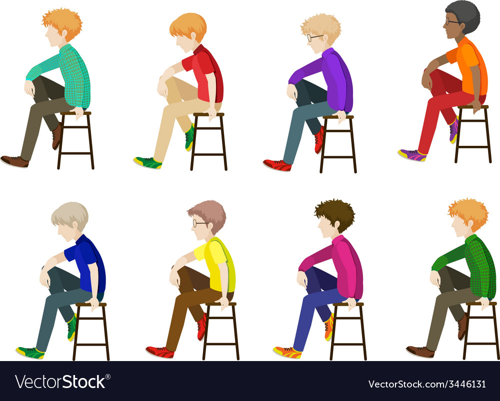 Eight gentlemen sitting without faces vector