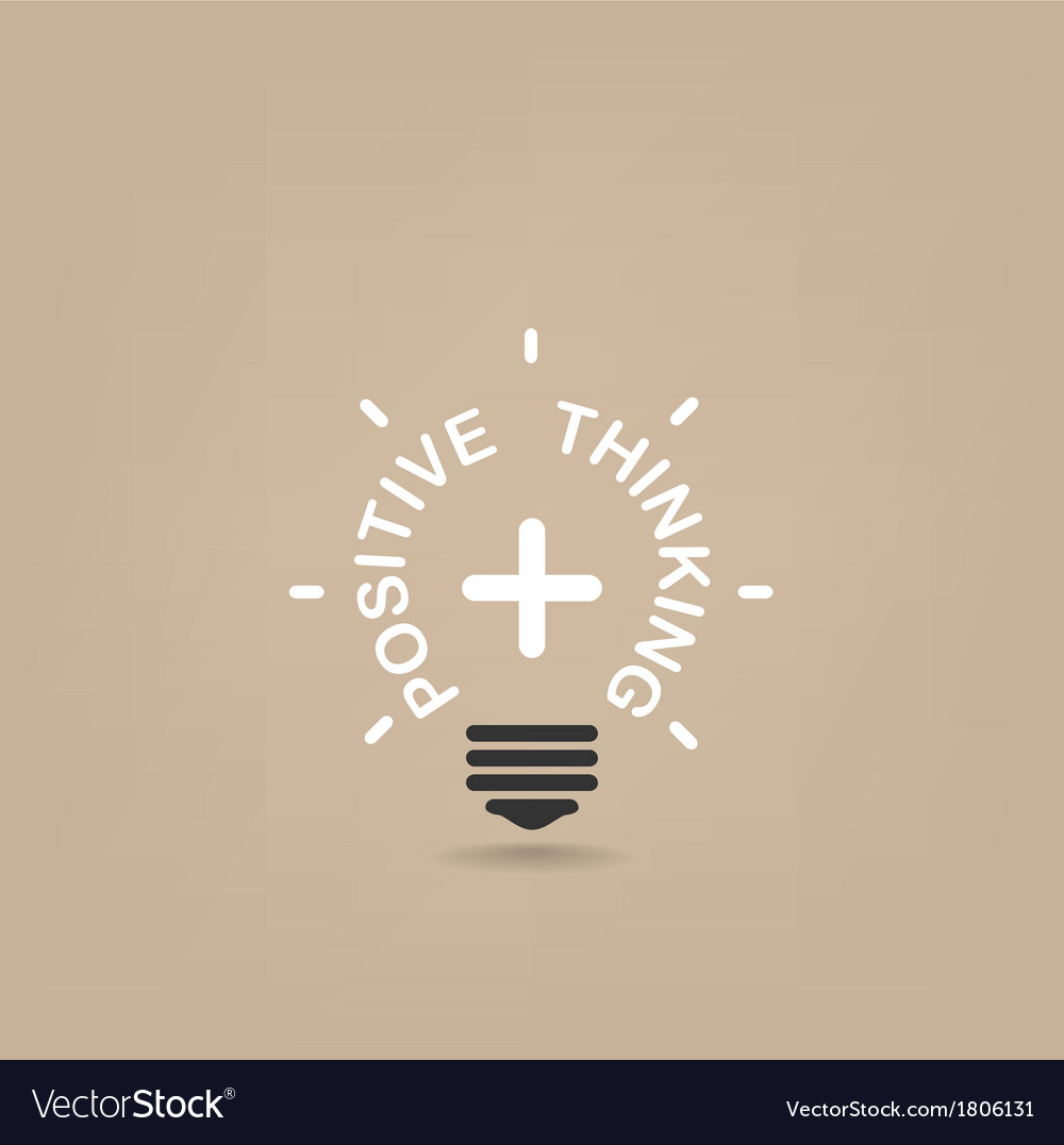 Positive thinking lihgt bulb vector
