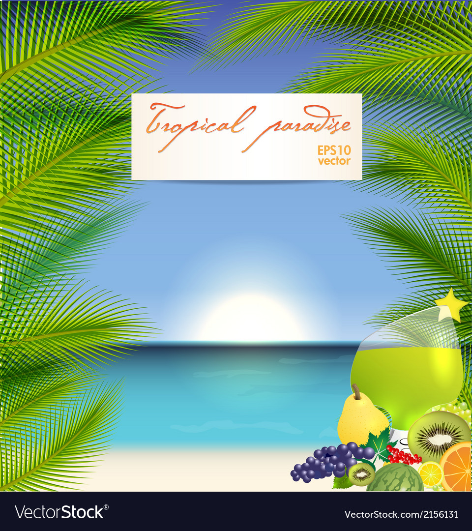 Summer holidays with cocktail vector
