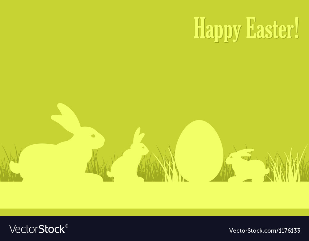 Easter eggs bunny green background v vector