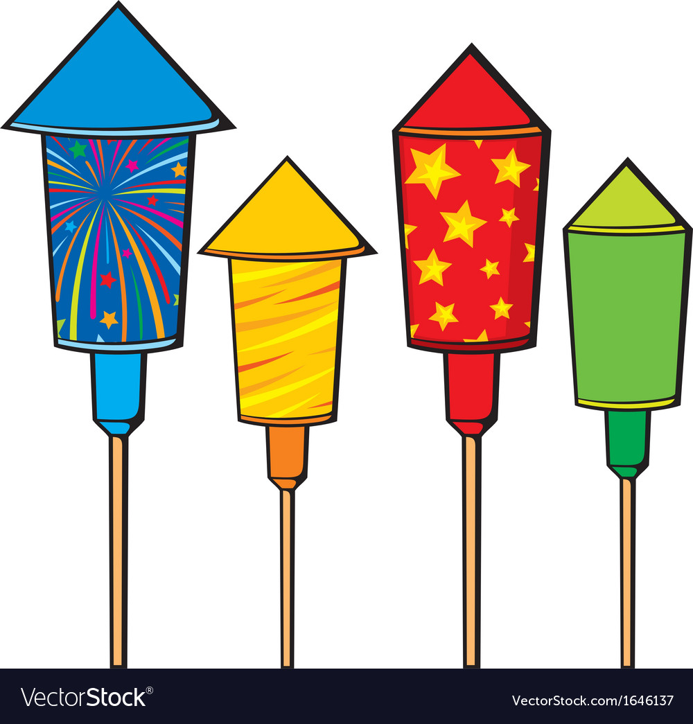 Firework rockets fire cracker vector