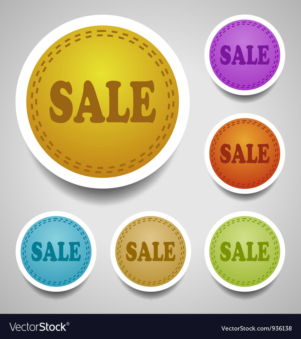 Sale stitched labels vector