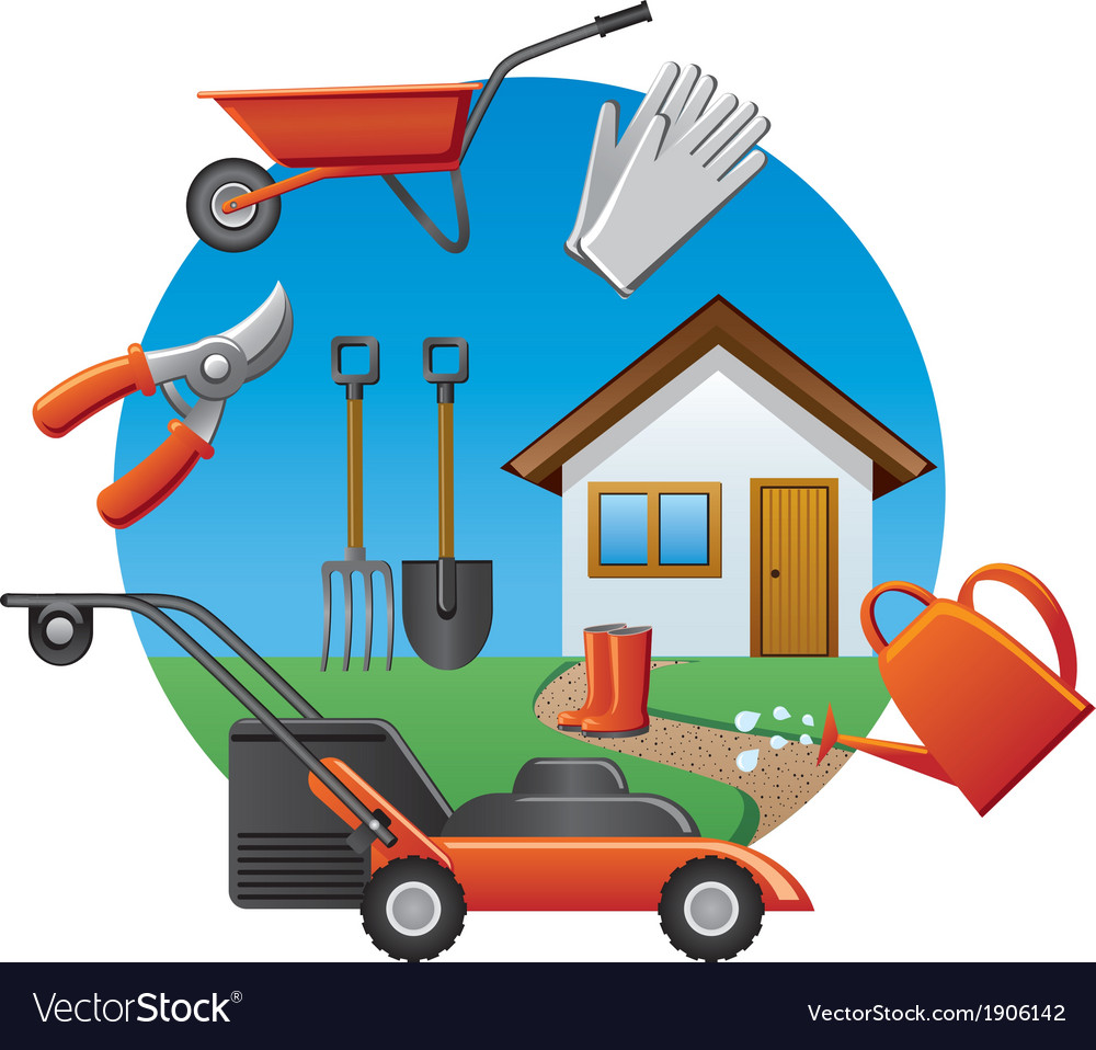 Cottage tools icon vector