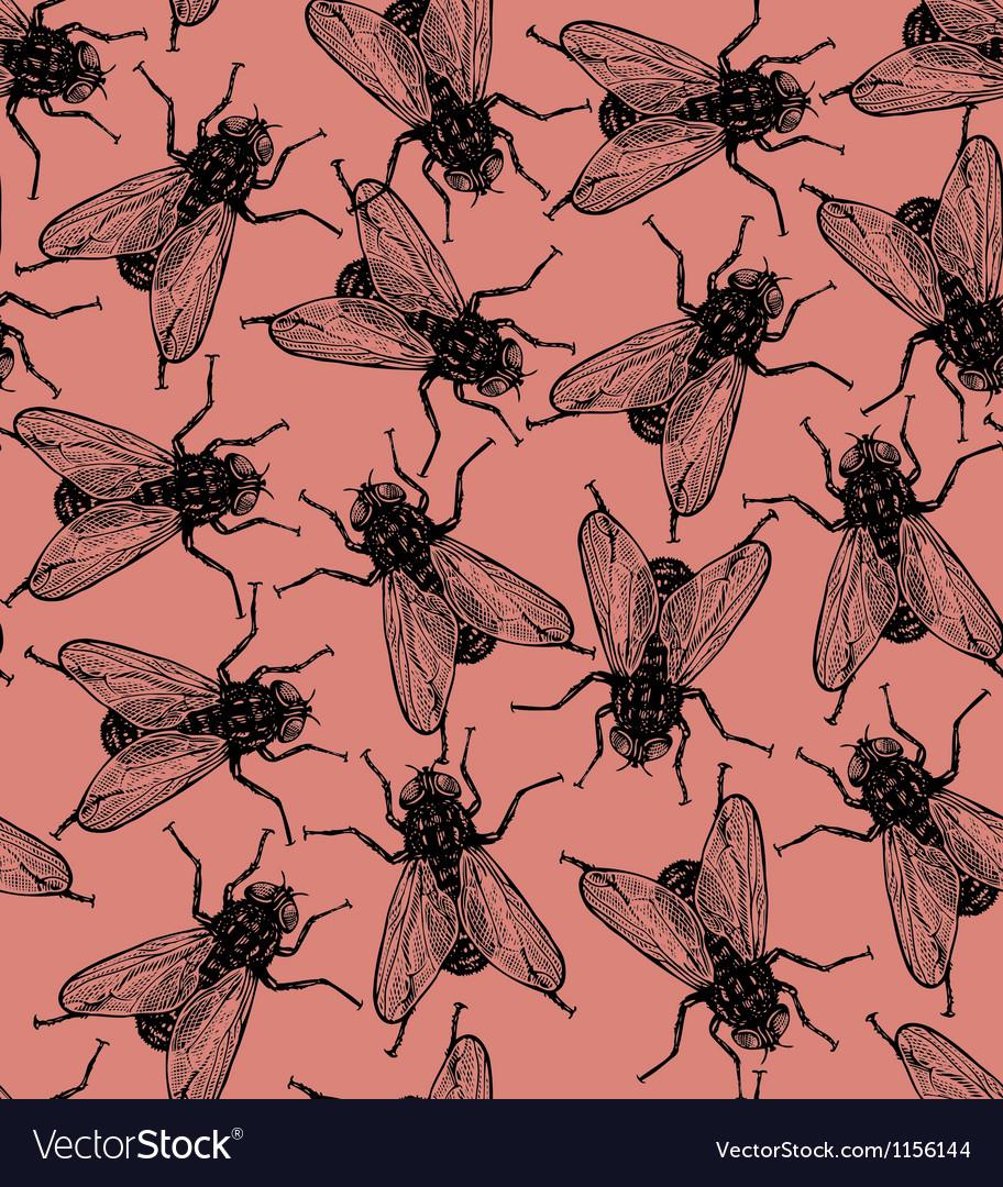 Seamless flies pattern in vintage engraved vector