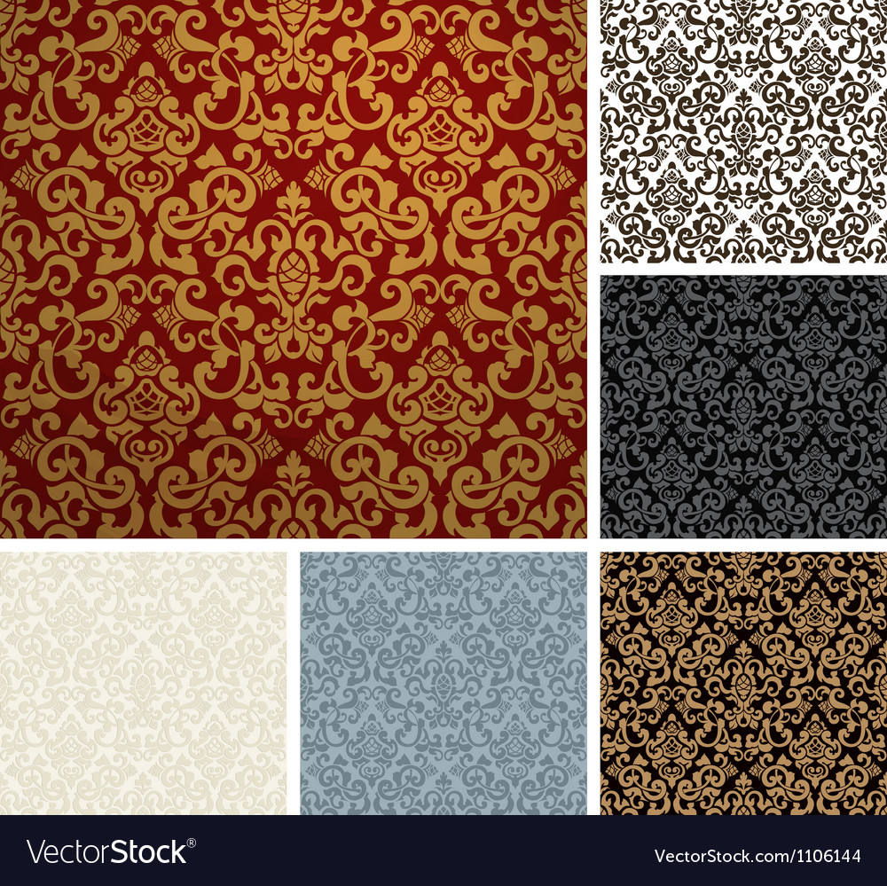 Seamless pattern six colors vector
