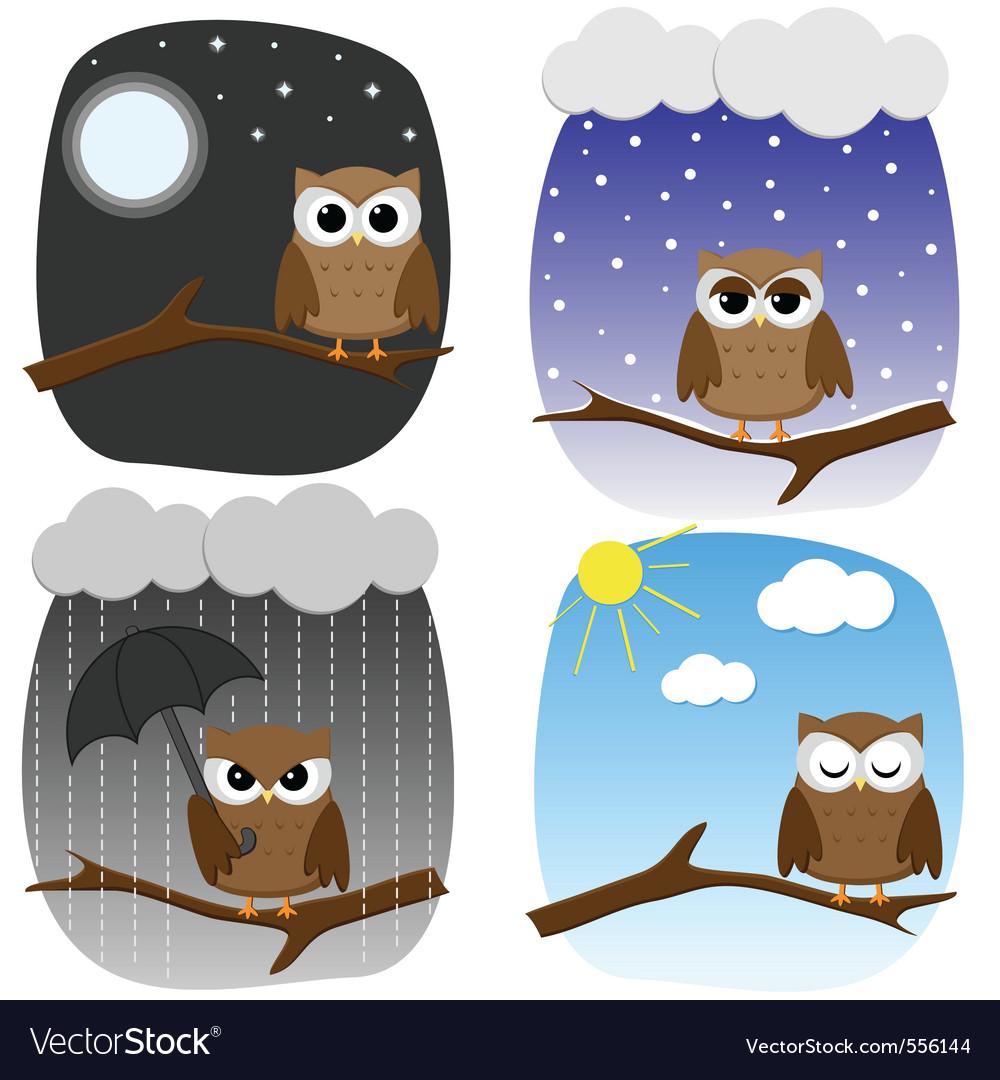 Seasonal owl vector