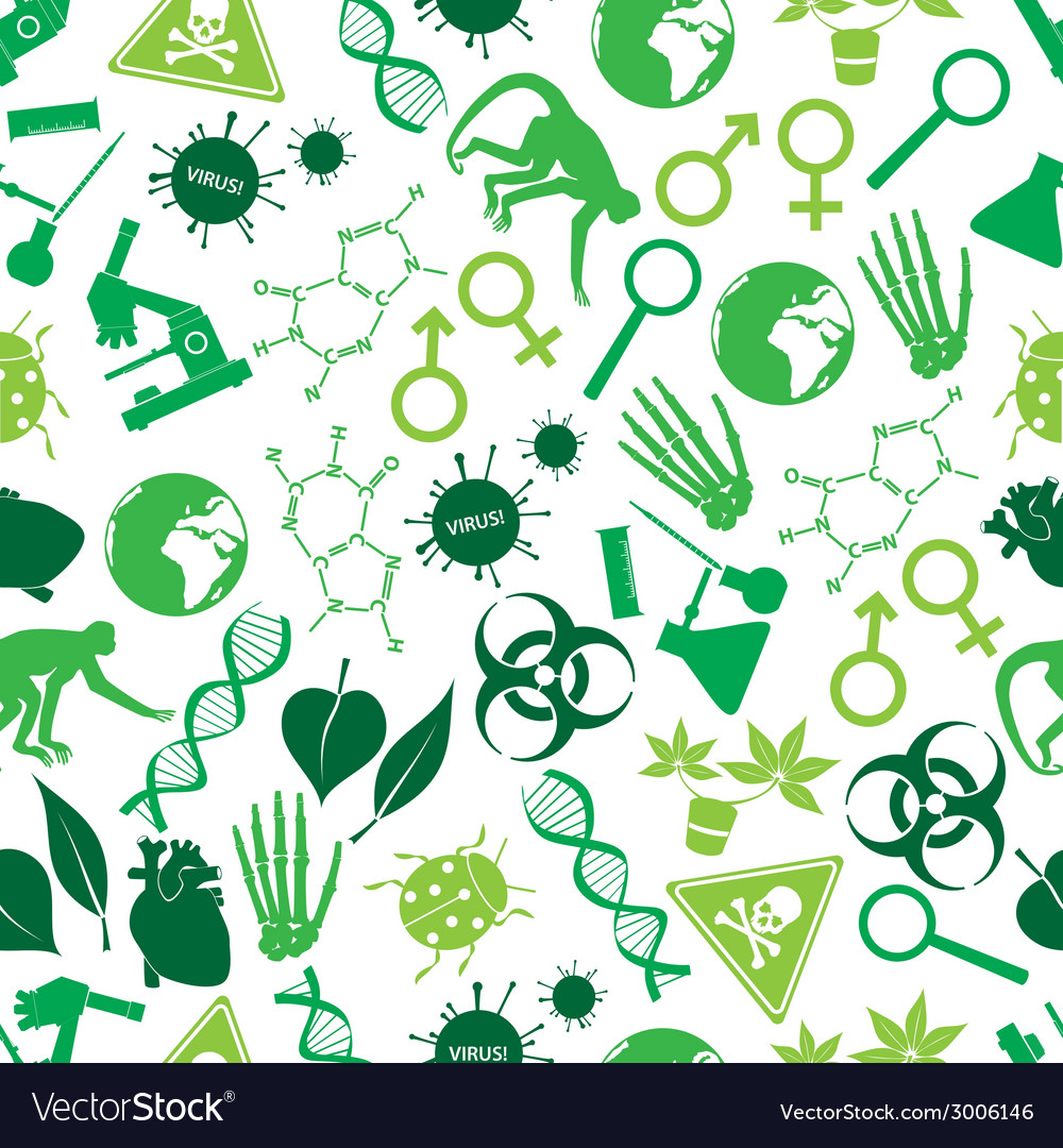 Color biology icons seamless pattern eps10 vector