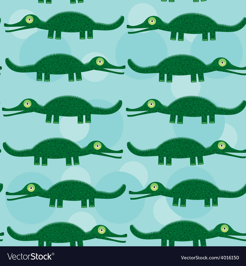 Funny green crocodile seamless pattern with cute vector