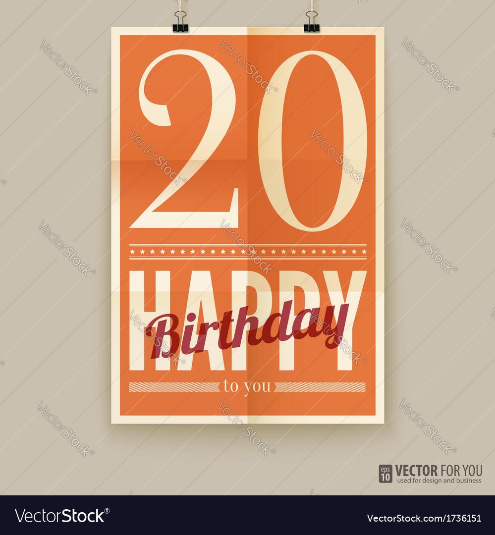 Happy birthday poster card twenty years old vector