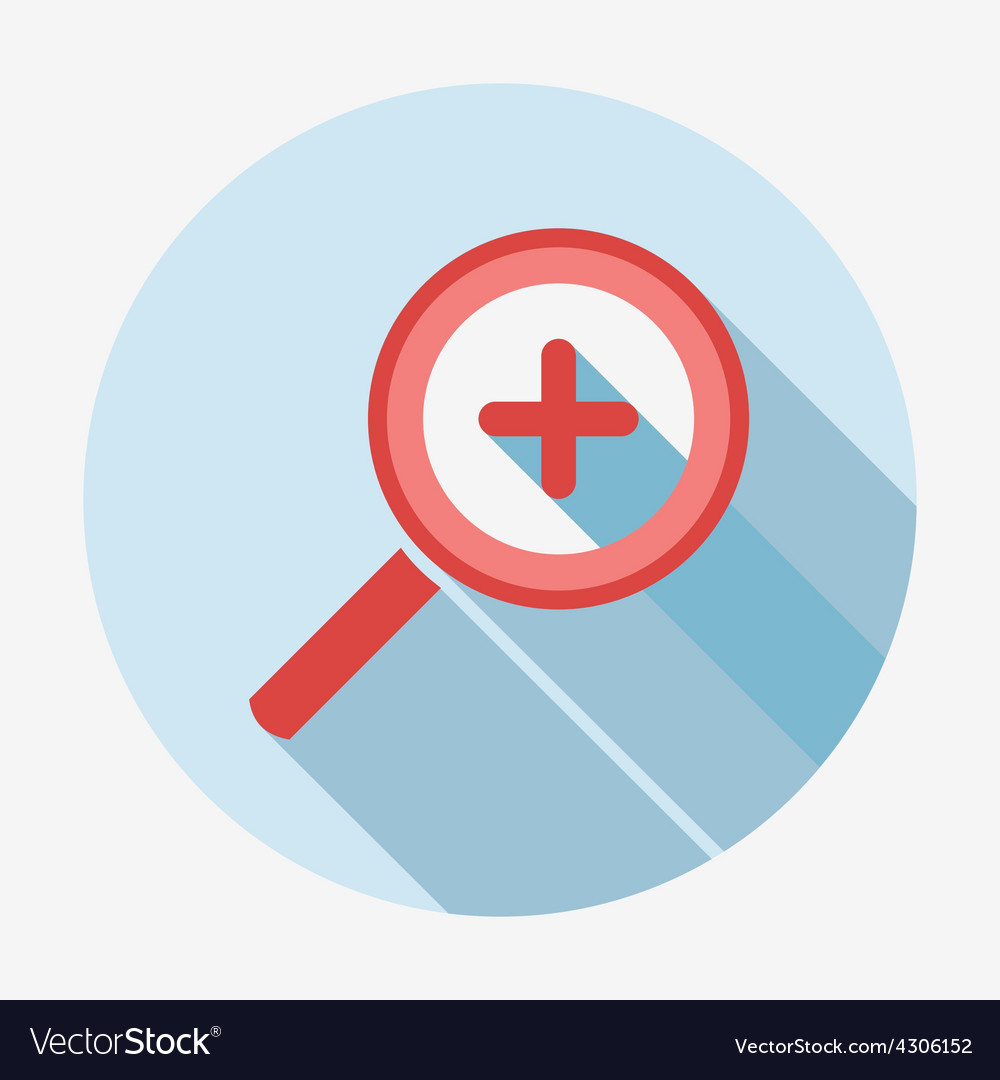 Single flat magnifying glass icon with long shadow vector
