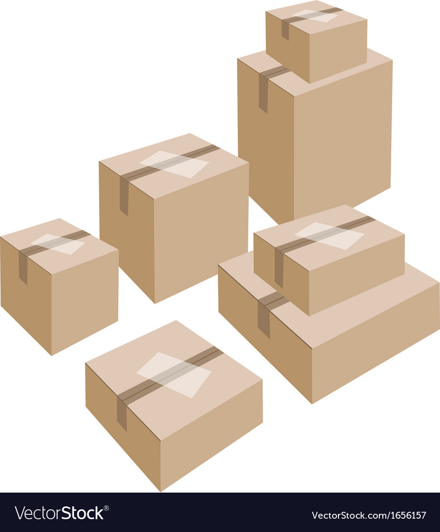 A stack of cardboard boxes with white labels vector