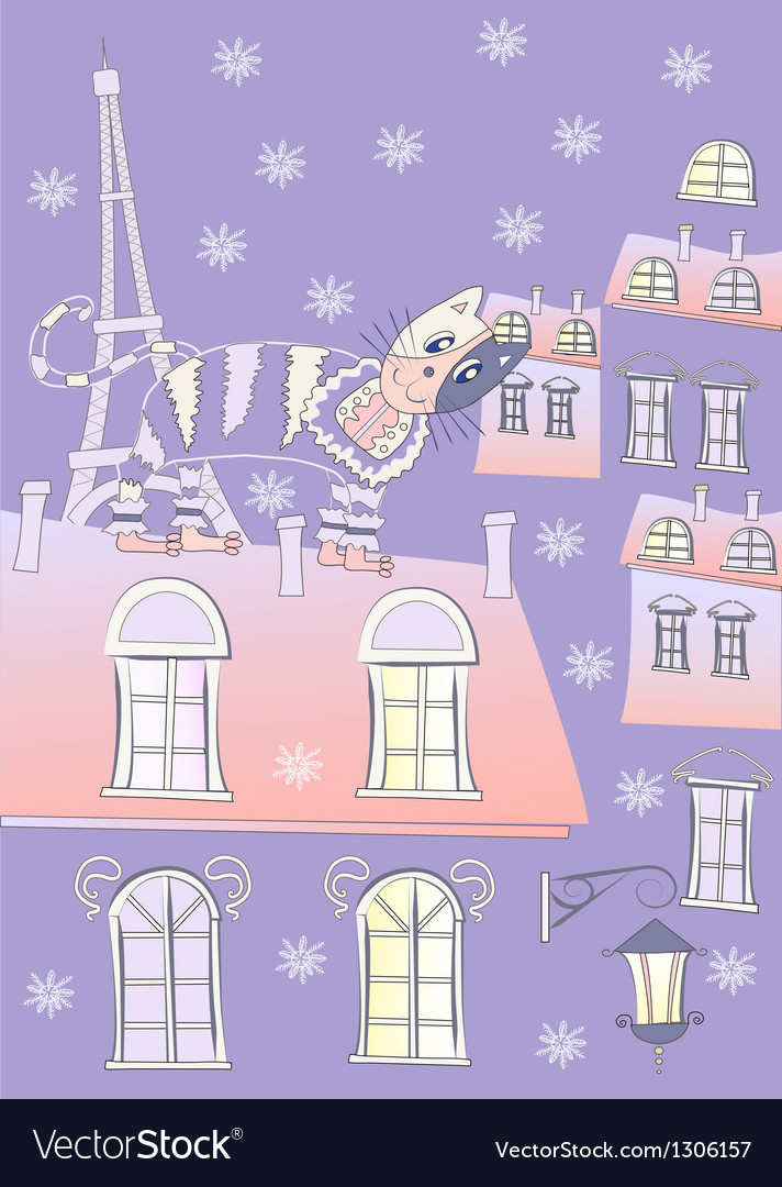 Cat on a roof of winter paris vector