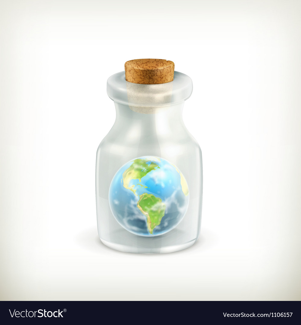Earth in a bottle icon vector