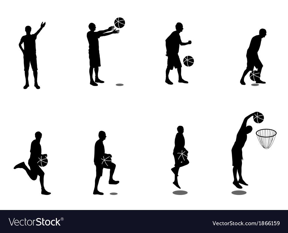 Set of basketball players vector