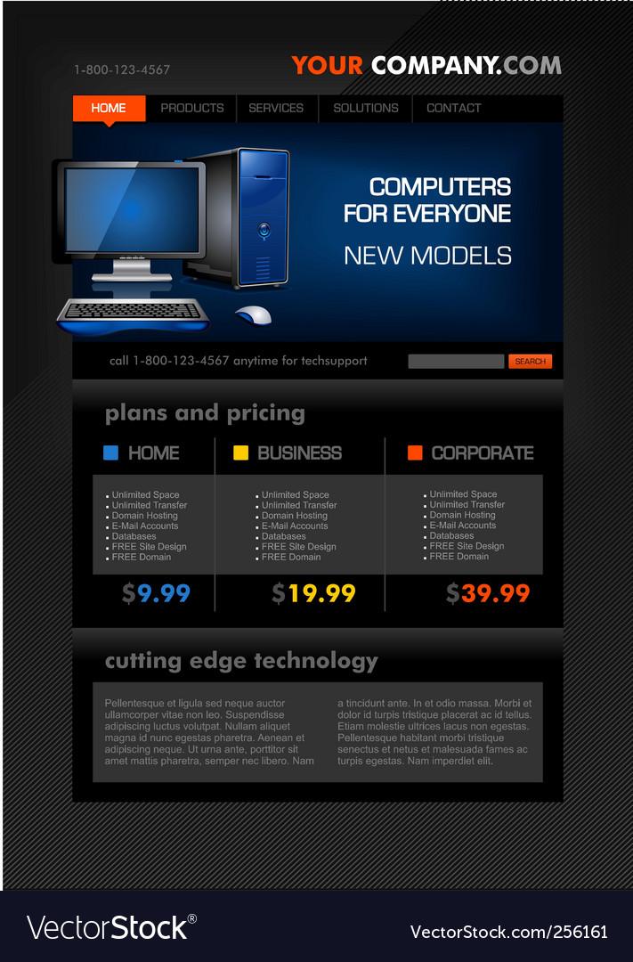 Desktop computer shop web temp vector
