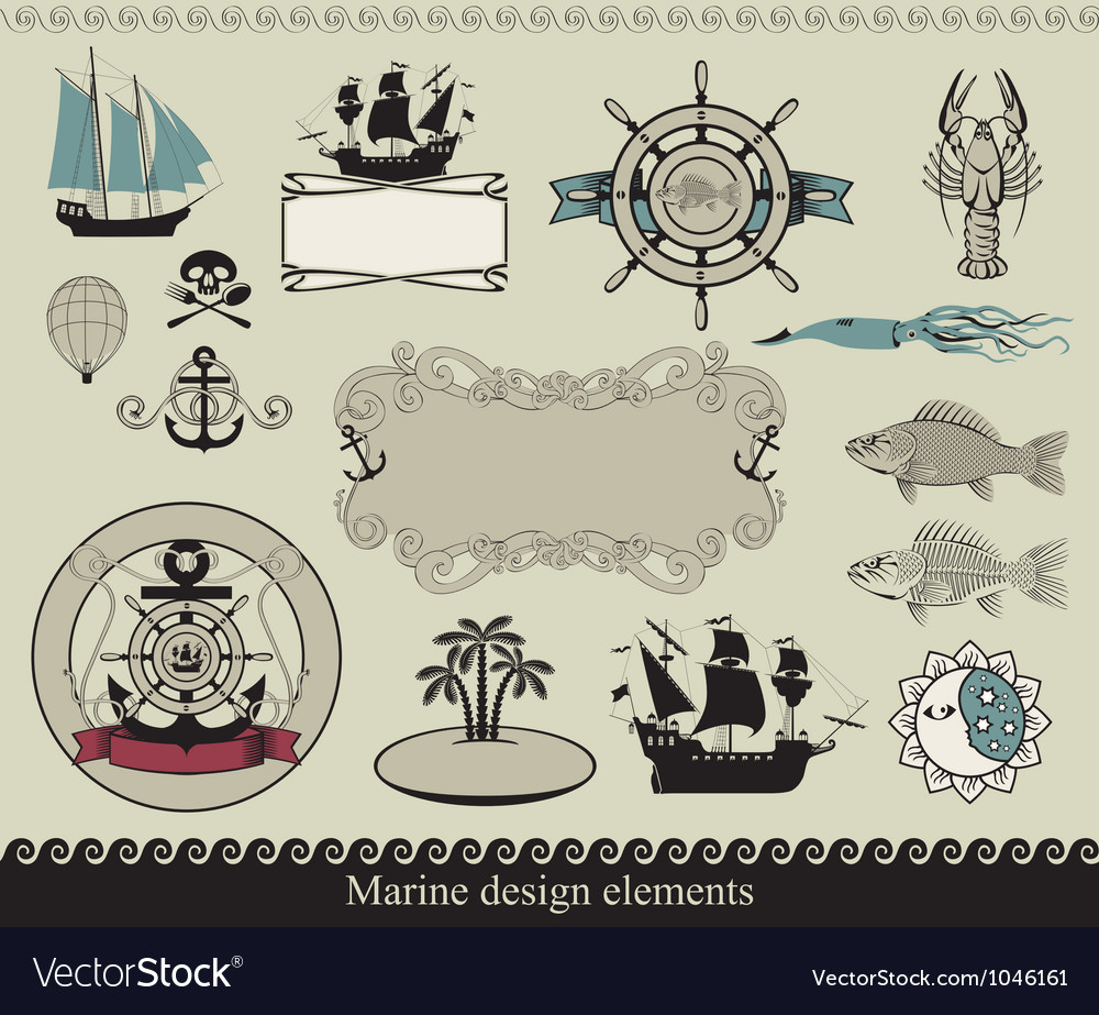 Marine elements vector