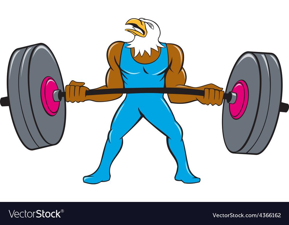 Bald eagle weightlifter lifting barbell cartoon vector