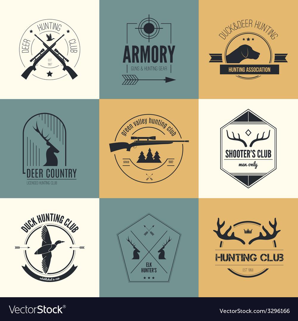 Hunting logos vector