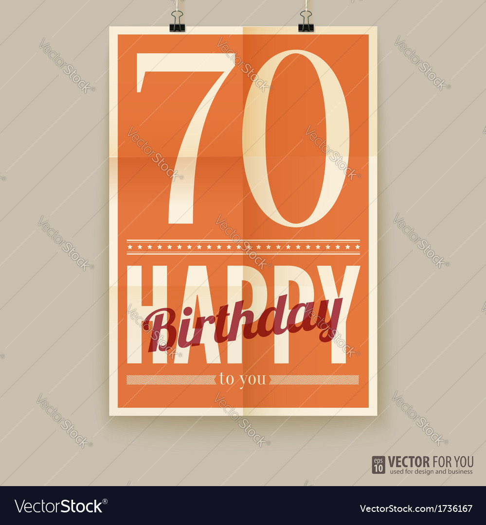 Happy birthday poster card seventy years old vector