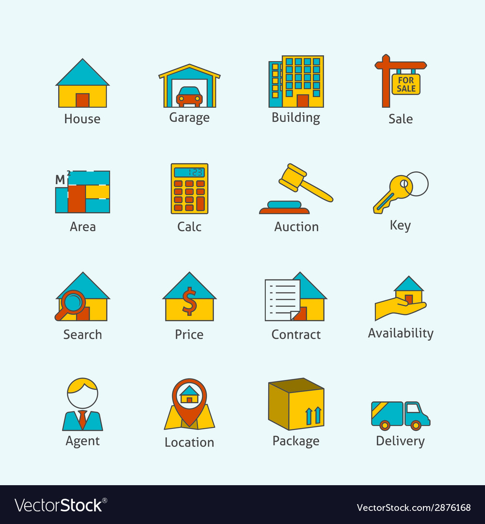 Real estate flat line icons vector