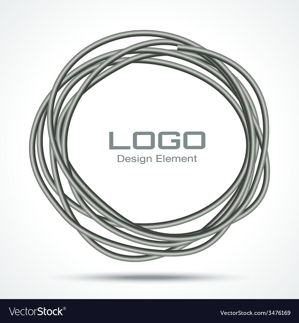 Hand drawn ware circle logo design element vector