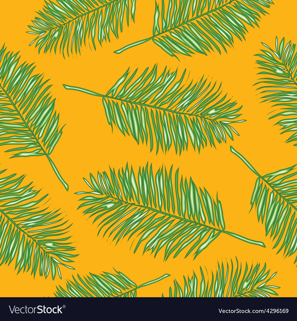 Palm leaves abstract seamless pattern vector