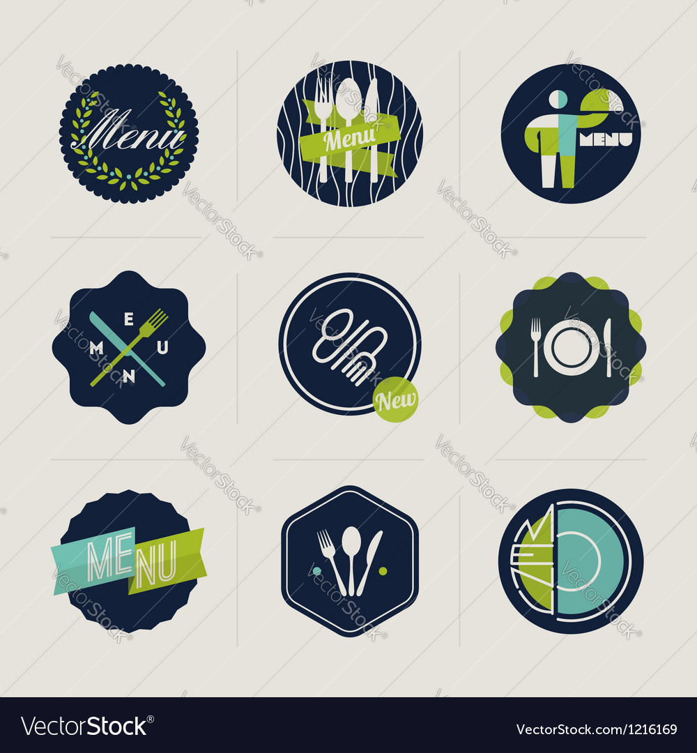 Restaurant menu labels set of design elements vector