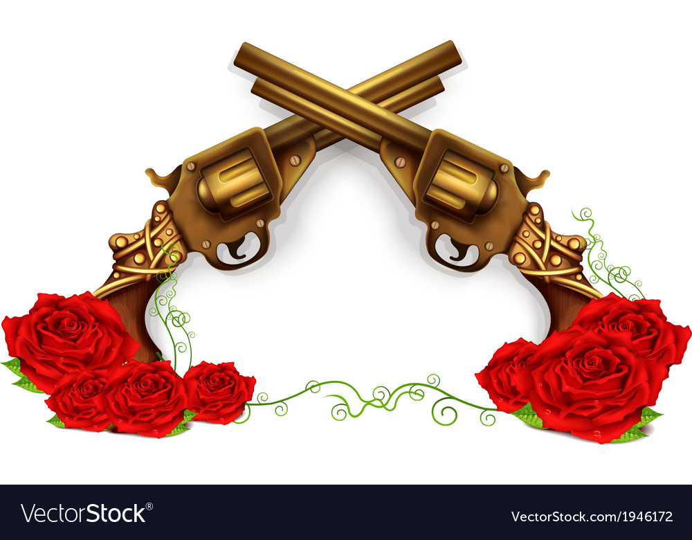Crossed guns with roses vector