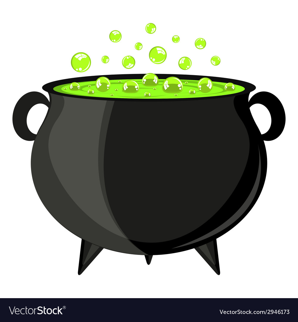 Black cauldron witches potion for halloween vector