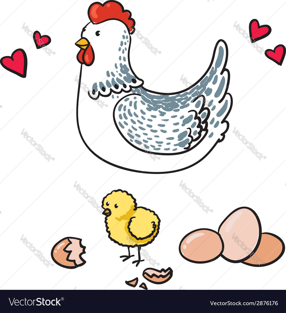 Hen and her seven eggs on a white background vector