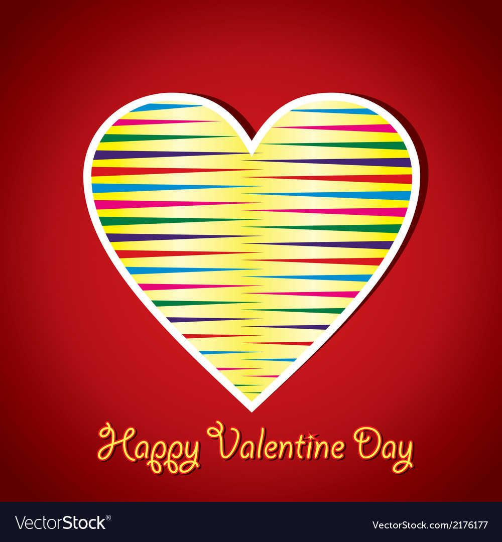 Colorful stripped heart vector