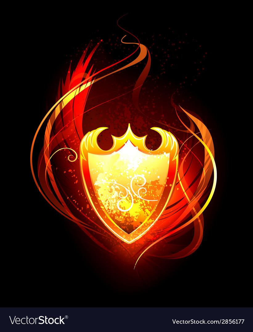 Fiery shield vector
