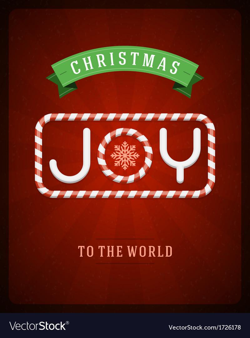 Merry christmas joy postcard with deer vector