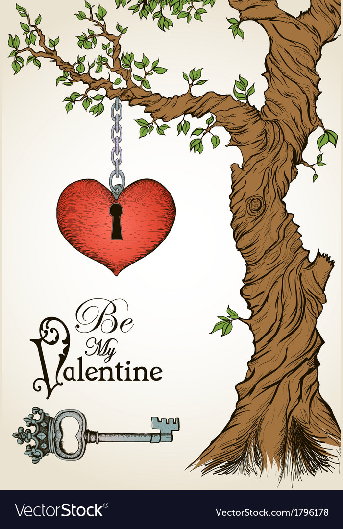 Valentine card with a heart hanging on tree and vector