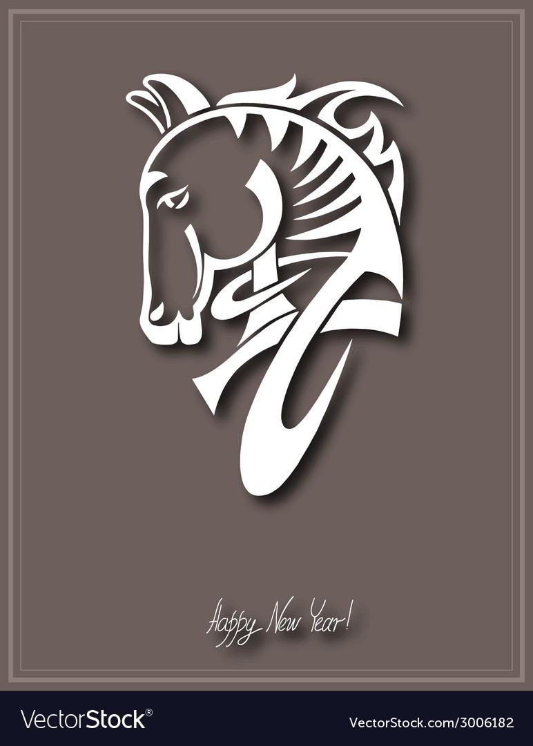 Digital drawing of tribal head horse silhouette vector