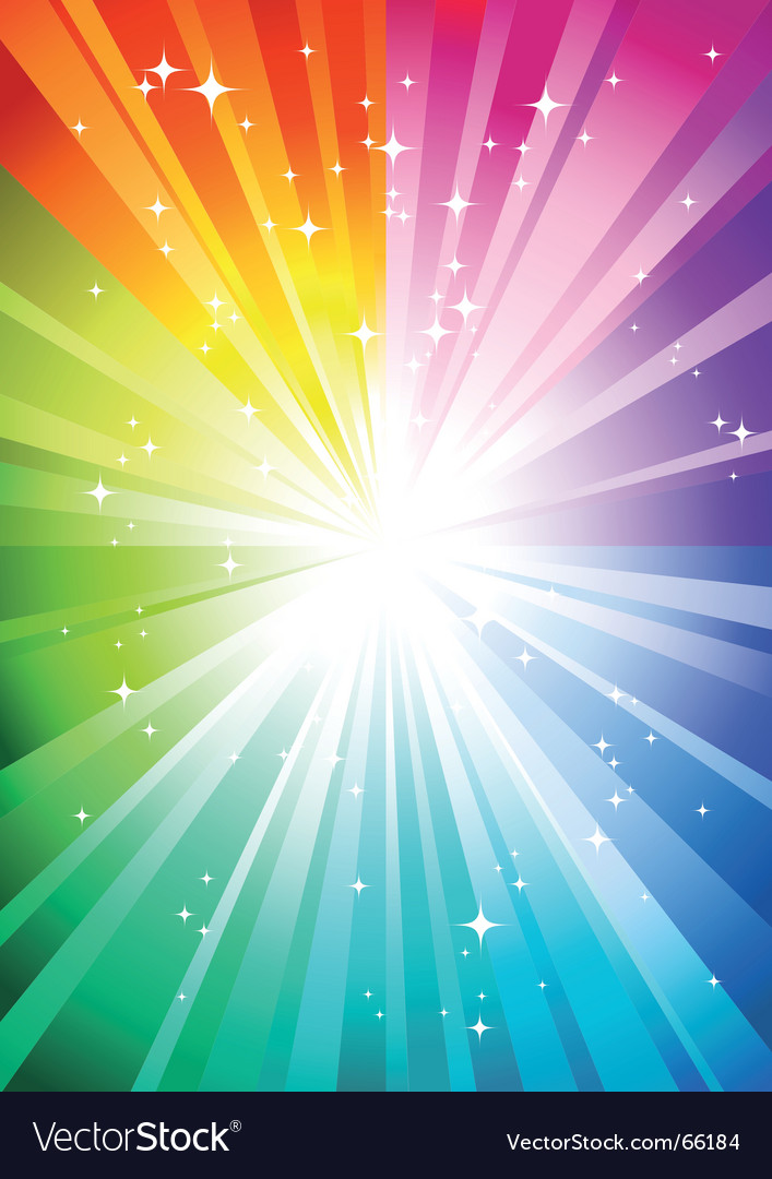 Rainbow sunburst vector