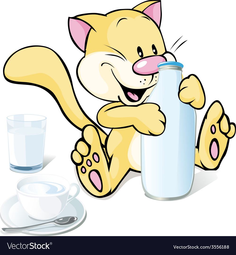 Cute kitty with milk isolated on white background vector
