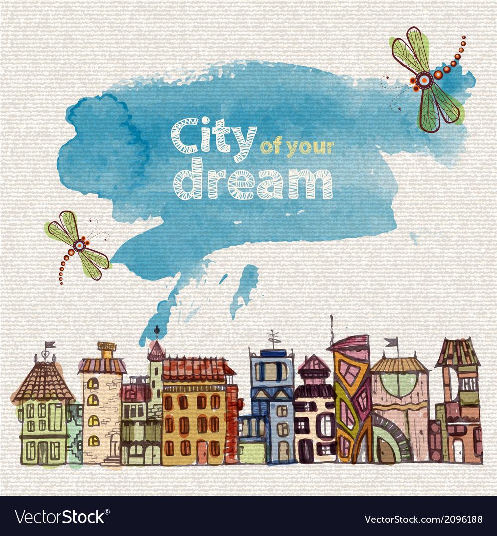 Decorative sketch of city vector