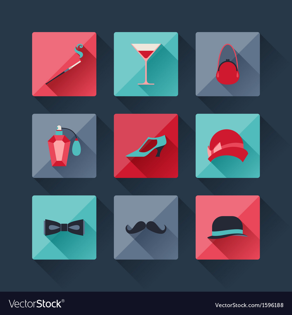 Set of retro fashion icons in flat design style vector