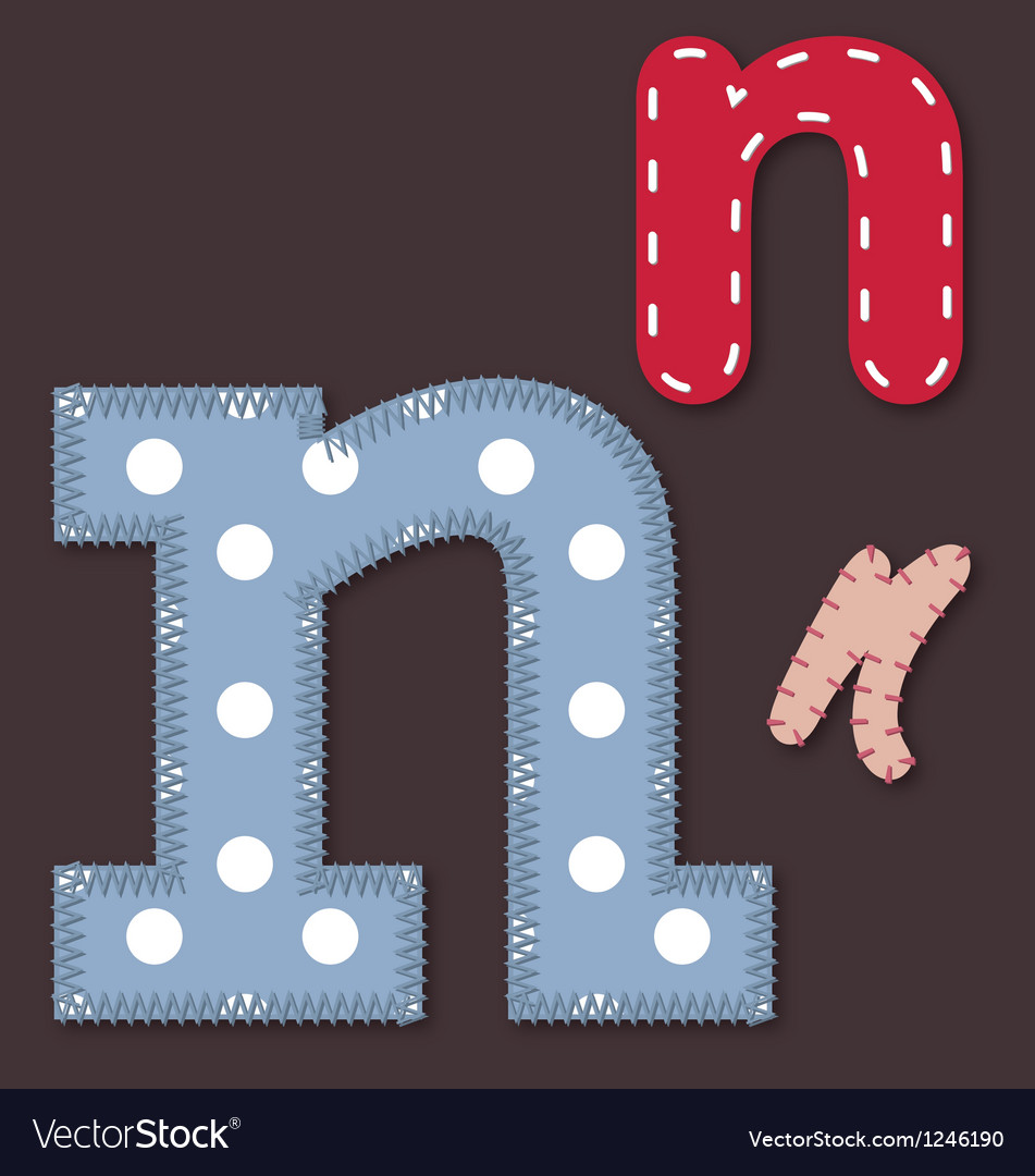 Set of stitched font - letter n vector