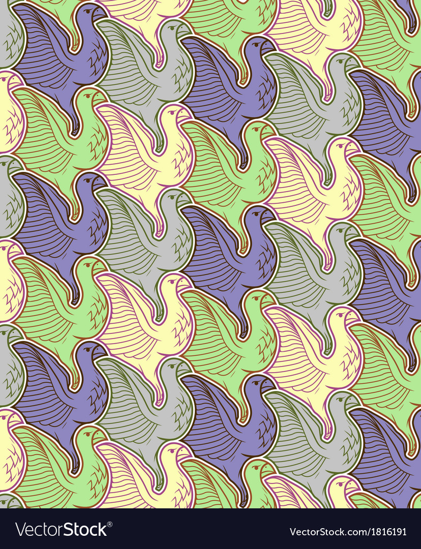 Seamless bird repetition pattern vector