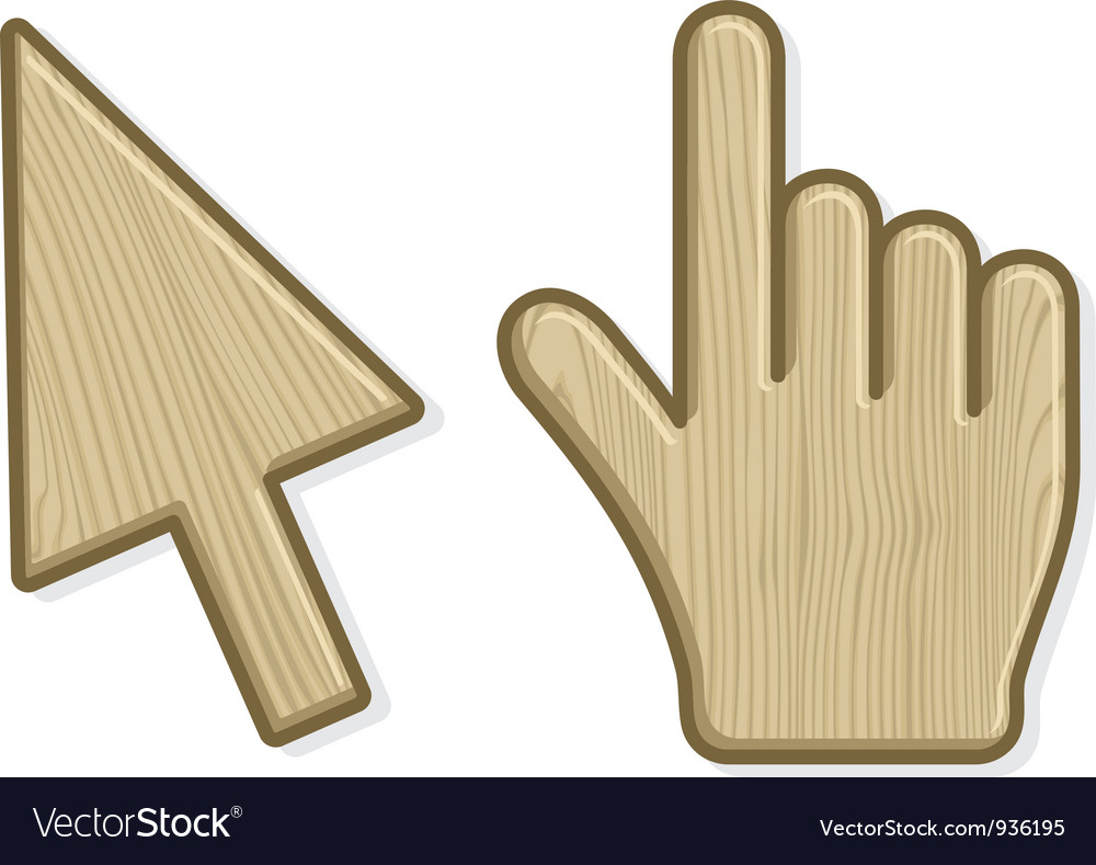 Two wooden cursors vector