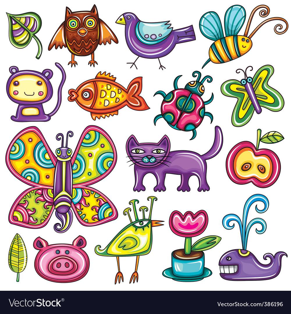 Cartoon flora and fauna set vector
