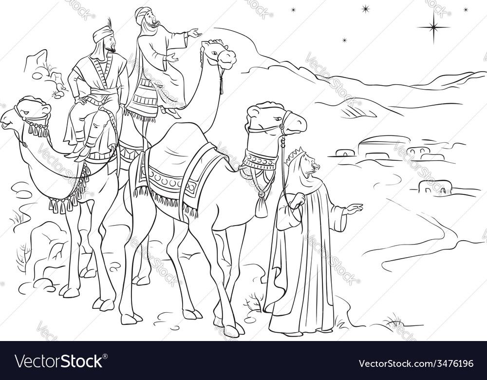 Three wise men following the star of bethlehem vector