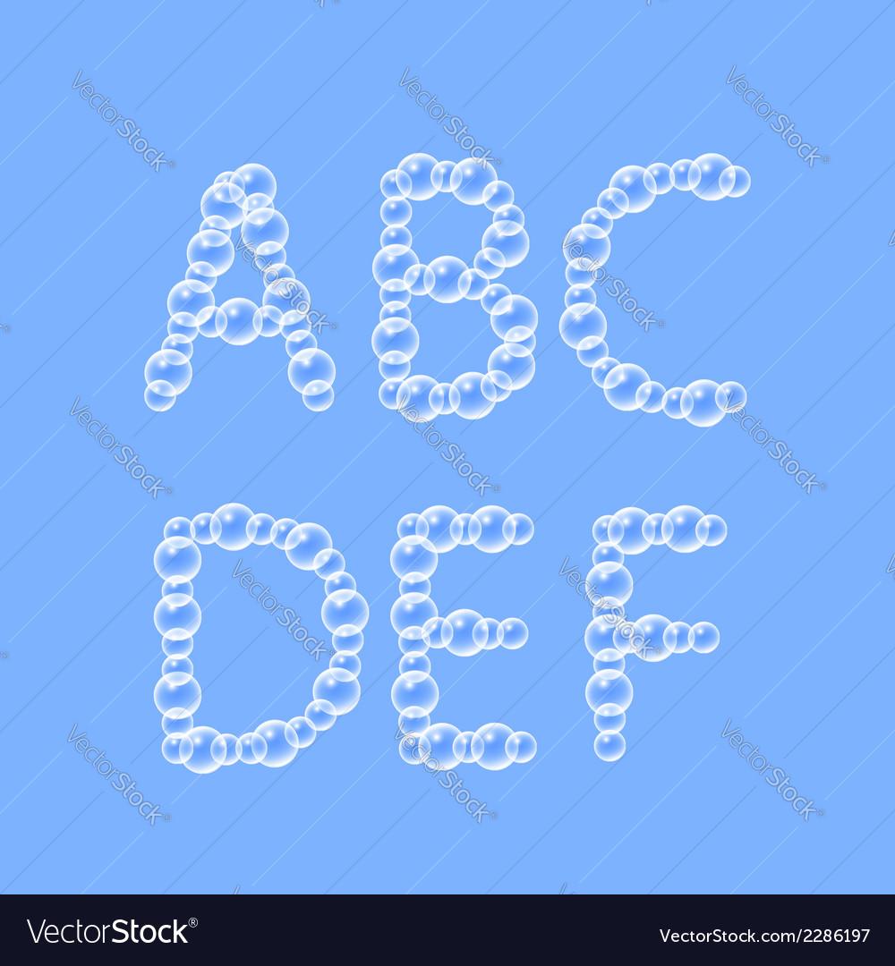Alphabet of air bubbles vector