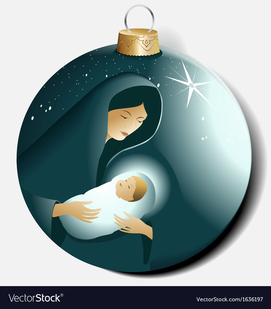 Christmas ball with maria and jesus vector