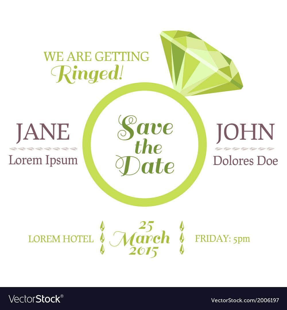Wedding invitation card with diamond ring vector