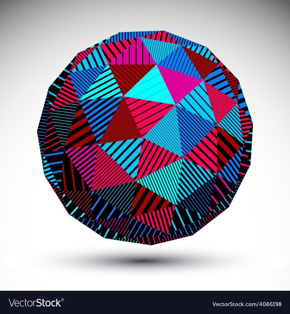 Triangular abstract dimensional striped sphere vector