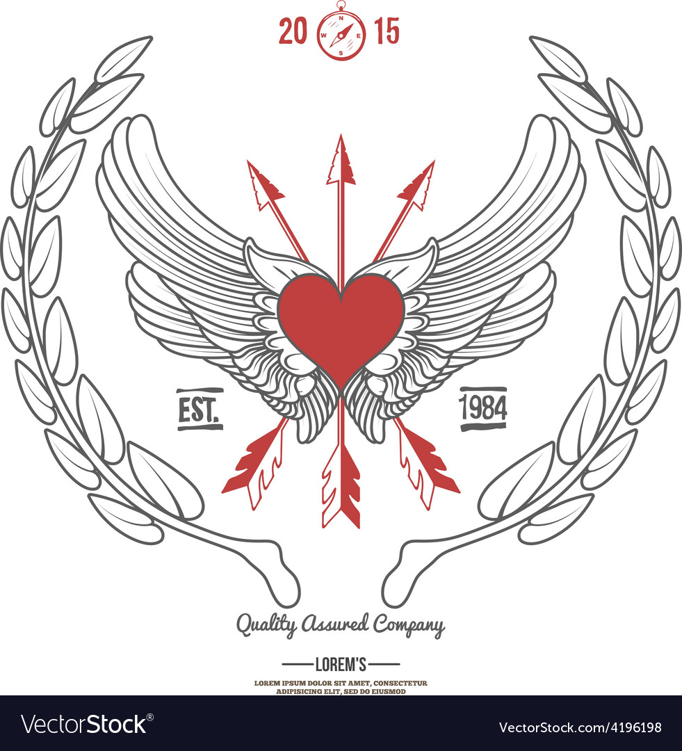Vintage hipster logo angel heart with crossed vector
