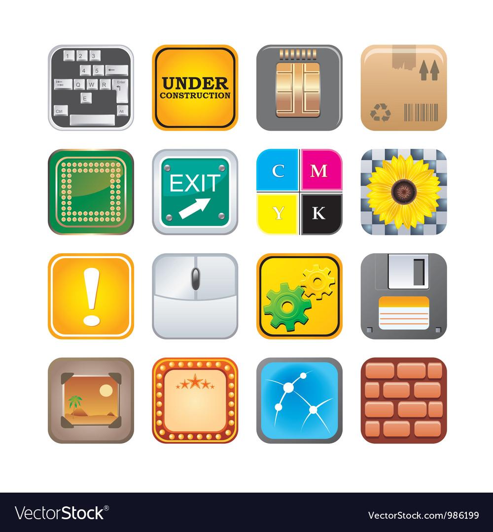 Apps icon set five vector